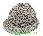Leopard-White-Cat-Print-Women-MSA-VGard-Full-Brim-Hard-Hat-Rear-Extremehardhats